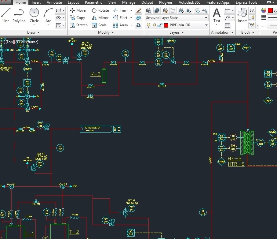 pic.1 - P&ID in AutoCAD 2D